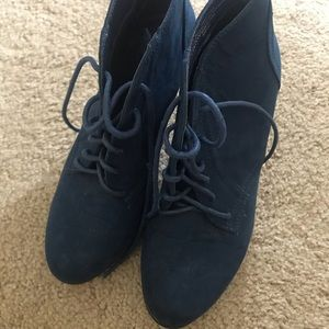 """Blue """"Suede"""" Heeled Boots"""